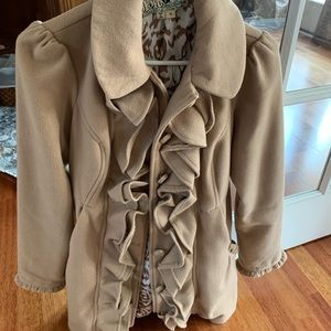 Juniors knee length camel colored coat size M